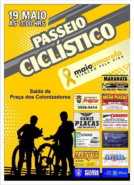 """Passeio ciclístico """"Maio Amarelo"""" será  neste sábado em Juara."""
